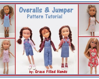 "1/2 PRICE Overalls and Jumper Pattern Tutorial Pictorial PDF Doll Clothes Fits 9""  Bratz Licca Jenny Blythe Skipper  Fashion Dolls"