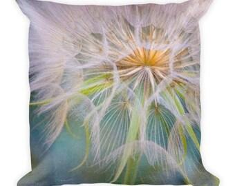 dandelion pillow, throw pillow, nature, flower, color, close up, home decor, unique, macro, dandelion art