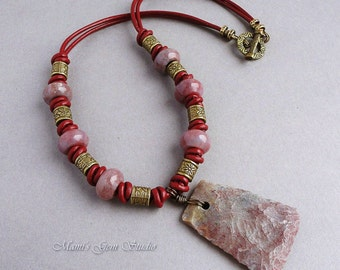 Jasper Stone and Braided Leather Necklace for Women, Mauve Pink Gray Red, Antiqued Brass, Tribal, Handmade