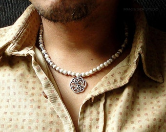 White Magnesite and Celtic Metal Pendant Necklace for Men, Natural Stone Beaded Mens Necklace, Handcrafted Jewelry