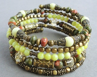 Yellow Green Gemstone Antique Brass Memory Wire Beaded Bracelet, Unakite, Citrine, Peridot Jasper, Wrap Around, Boho Gypsy,
