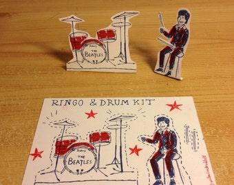 Ringo Starr Unofficial Drum Kit Cut-Out Postcard by Wilm Lindenblatt Beatles Art!