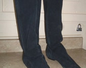 80s Suede Pirate Boots Black Pull On Faded size 7 to 8
