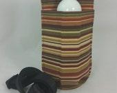 Massage Therapy single bottle hip holster, Autumn stripes, canvas, black belt