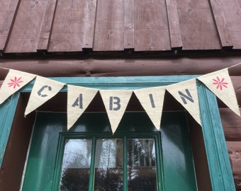 Custom Rustic Cabin Banner - Cabin with Birds or Flowers