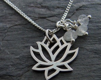 Moonstone Lotus Necklace | Sterling Silver Necklace | Hope New Beginnings | Moonstone gemstones | Lotus Necklace | Boho Necklace