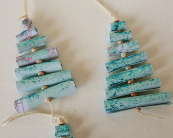 Recycled Rolled Scrapbook Turquoise Glittered Paper Christmas Tree Ornaments Set of 11