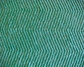 Teal Green Chevron Plush Vintage Cotton Chenille Fabric 12 x 24 Inches
