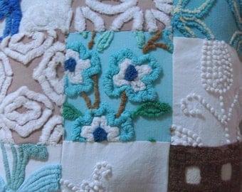 """Vintage Cotton Chenille Fabric Patchwork  12"""" Pillow"""
