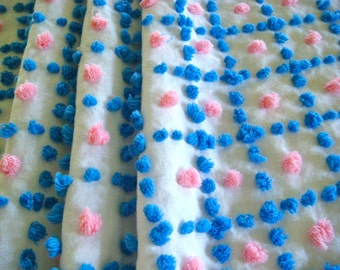 Pink and Blue Handmade Candlewick Pops Vintage Cotton Chenille Bedspread Fabric  17 x 24 Inches