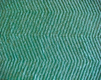 Teal Green Chevron Plush Vintage Cotton Chenille Bedspread Fabric 12 x 24 Inches