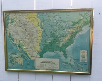 VINTAGE RELIEF MAP of The United States, U S Army, 3 Dimensional, Homeschool, Mid Century Decor, Industrial Decor at A Vintage Revolution