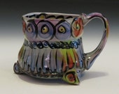 Circles and stripes purple blue yellow red mug