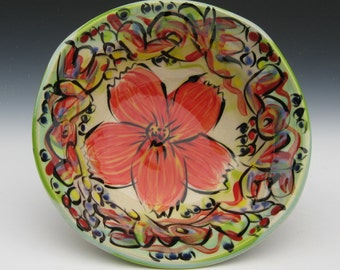love flower bowl graffiti style serving bowl red flower copper rutile