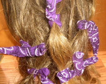 Dread Wraps,PURPLE Bandana Print,Ponytail Holders, Dread Accessories, Wired Dread Holders, PonyTail Twists, Boho Hair Accessories, Set of 8