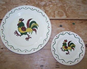 Metlox Poppytrail, Vernon California, Provincial, Rooster Plates, Dinner Plate, Bread Butter Plate, California Pottery, Farm Animal