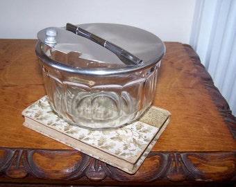Utilities Specialties Company, Glass Sugar Bowl, Flip Top Lid, Fluted Glass, Stainless Steel Lid, Vintage, Restaurant Ware