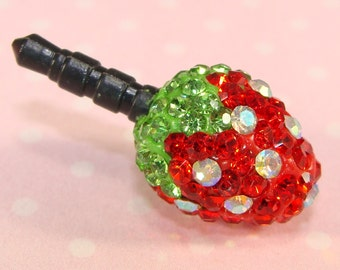 Strawberry Dust Plug Rhinestone Cell Phone Charm Red Green Clear Crystals Jewelry Supplies MP3 Mothers Day Best Friend Gift Idea CLR