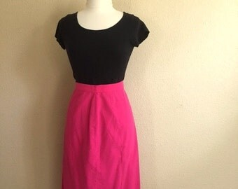 Vintage HOT PINK Straight Skirt / Womens Small