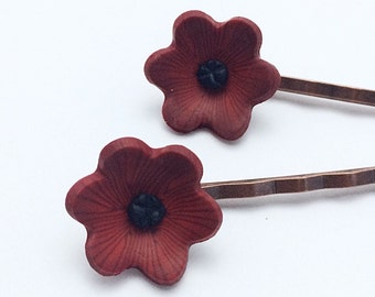 Dark Poppy Bobby Pins, Polymer Clay Flower Hair Accessories