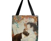 Tuxedo Cat Sleeping With Gustav Klimt's Mother and Child - Day Sling Bag
