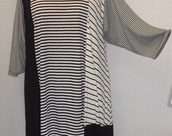Plus Size Top, Asymmetric Tunic Top, Women Tunic, Coco and Juan, Multi Stripe #9 Knit Size 2 (fits 3X,4X)  Bust 60 inches