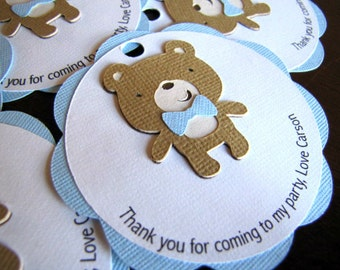 Teddy Bear Party Favor Tags, Teddy Bear Gift Tags, Bear Baby Shower Favor, Bear Birthday Favor, Boy Favor Tags, Bear Gift Tags, Set of 12