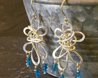 Dancing Flower Apatite Argentium Silver Earrings