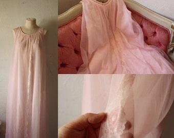 ON SALE 50% OFF Pink Chiffon Nightie • 1950s Boudoir Pin-up Girl Photoshoot Nightgown • Chiffon Gown