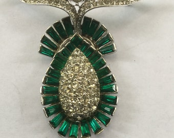 Vintage Rhodium Plated Faux Emerald & Diamond Brooch 1940s