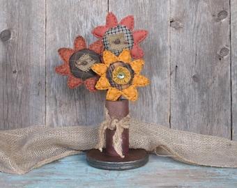 Set of Three Primitive Fabric Flowers, Rustic Farmhouse Decor