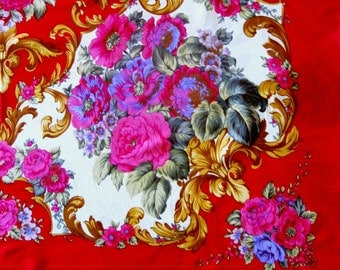 Vintage Scarf Floral Silk Roses Pink Fuchsia Gold Red Bold Bodacious Flowers Shoulder Wrap Oversized