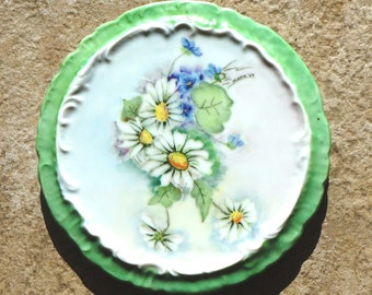 Vintage Trivet Victorian Floral China Hot Plate Porcelain Daisies Lime Green Blue Yellow