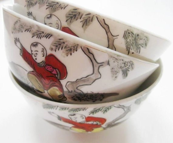 Vintage Rice Bowl Japan Oriental Scene Samurai Boy Martial Arts Set of Three