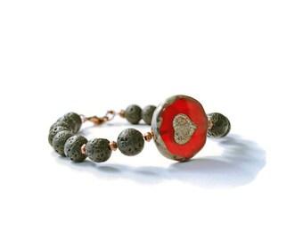 Red Heart Czech Glass and Lava Stone Aromatherapy Bracelet