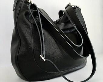 DOUBLE STRAP URSULA - Zipper Closure - Oversized - Black Leather Bag - Carry on Bag - Leather Work Bag - Office Bag - Leather Laptop Bag