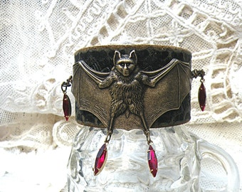 halloween leather bat cuff bracelet upcycle vampire blood