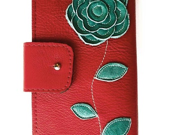 womens leather wallet, leather wallet, womens classic leather wallet, womens iphone 6 wallet phone wallet red wallet valentines gift for her
