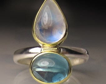Rainbow Moonstone Ring, Rainbow Moonstone and Blue Topaz  Ring, Blue Flash Moonstone Double Stone Ring