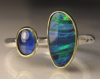 Boulder Opal and Blue Sapphire Ring, 18k Gold and Sterling Silver, Open Stone Cocktail Ring, Double Stone Open Face Ring, size 7 - 7.25