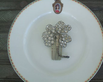 Beautiful Edwardian Hair Pick Comb, Silver Tone With Prong Set Clear Faceted Rhinestones, Hand Crafted One Of A Kind