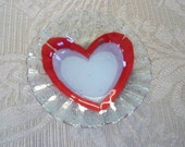 Vintage Collectible Heart Valentine's Day Glass Ring Dish Sydenstricker Glass Cape Cod