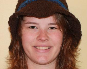Brown Shetland wool knitted hat