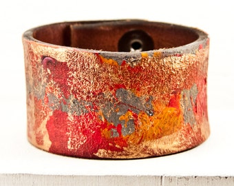 Bohemian Bracelet Gypsy Jewelry - Leather Cuffs Brightly Colored Wristbands - Colorful Multi Color - Festival Fashion