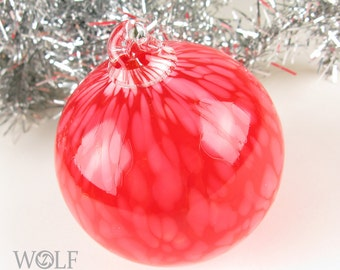 Blown Glass Christmas Ornament Red White Snowball