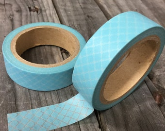 Washi Tape - 15mm - Ocean Blue Diamond Lattice Pattern- Deco Paper Tape No. 780