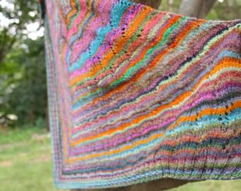 Hand knit shawl/ hand spun yarn 60x33 inches