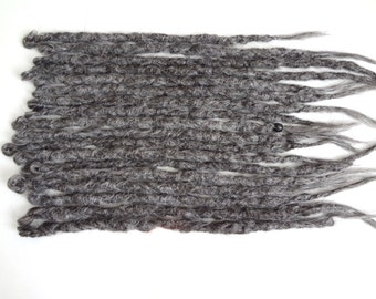 15 Grey synthetic dreads. Synthetic dreads, dreadlocks, dreads, synthetic dreadlocks, dreadlock extensions, single ended dreads, gray dreads