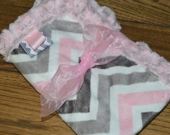 Baby Girl SECURITY BLANKET/LOVEY Chevron Minky Pink Gray