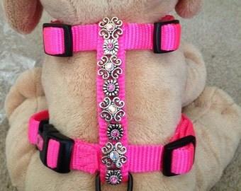 SWAROVSKI CRYSTAL PINK adjustable dog harness, size small